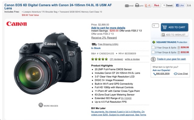 Canon EOS 6D & 24-105 f/4L IS Kit On Sale - CanonWatch