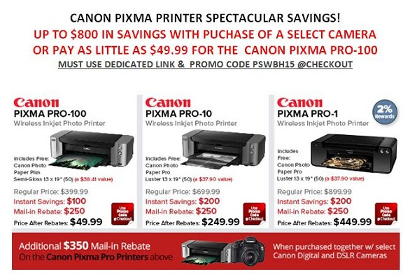 Huge Discounts On Canon PIXMA Printers (PRO-100 At $50, PRO-10 At $250, PRO-1 At $450)