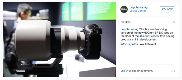Canon EF 600mm F/4 BR DO Prototype Shown At Canon Expo 2015