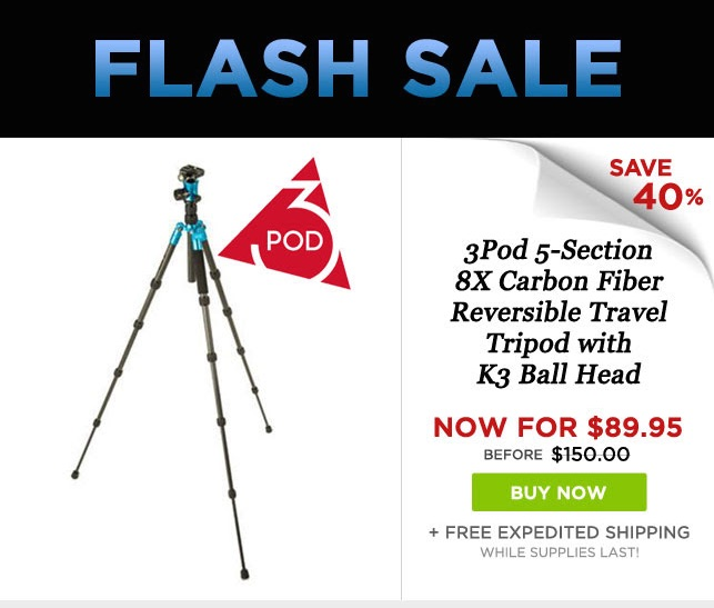 Adorama Flash Sale: 3Pod Carbon Fiber Tripod With Ball Head At $89.95 (reg. $150)