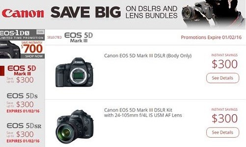 Canon Rebates And Instant Savings Expiring January 2, Maybe