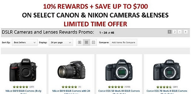 Savings Up To $700 And 10% Rewards On Select Canon DSLRs (6D, 7D2, T5 With 2 Lenses At $349))