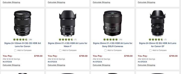 "Save Big On Sigma ""ART"" Lenses"
