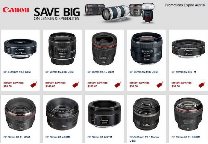 Canon Rebates On Lenses And Speedlites Extended To April