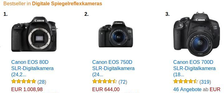 Canon EOS 80D Best Selling DSLR On Amazon Germany