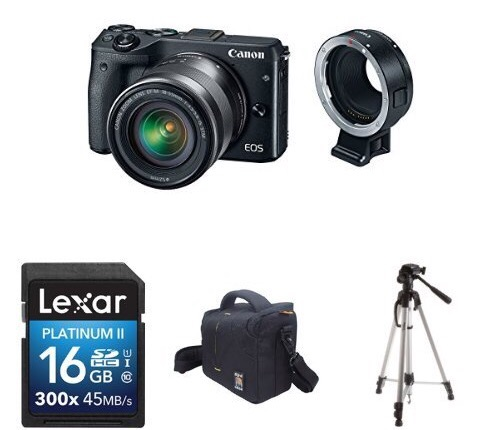 Canon EOS M3 Bundle Deal – $599 (18-55mm, EF-M Adapter, 16GB Card, Tripod, Bag)