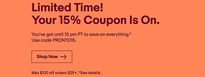 Today Only: Save 15% On All EBay Products (but No More Than $100)