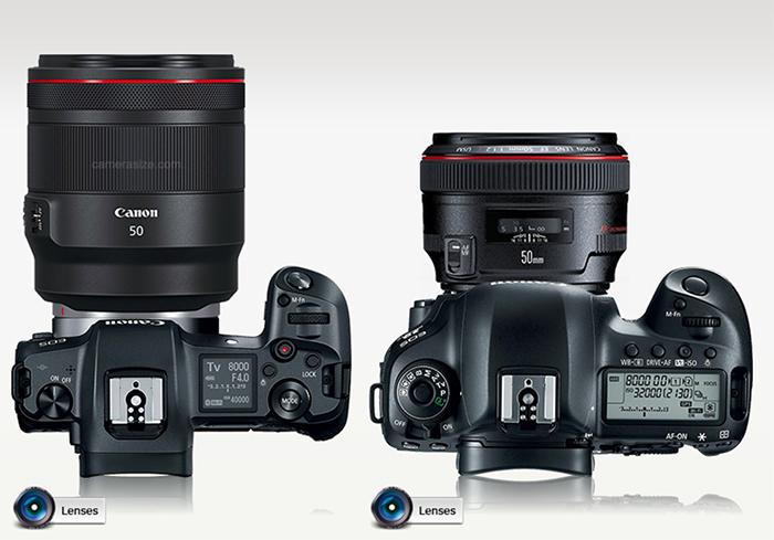 Canon EOS R vs Nikon Z vs Sony A7 size comparison with lenses