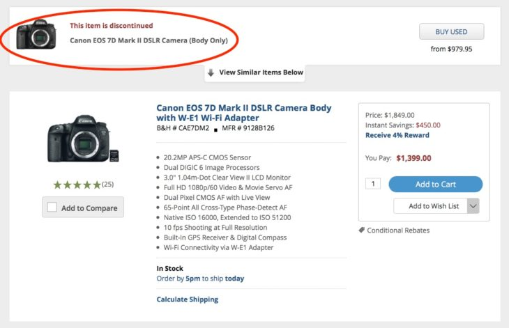 The Canon EOS 7D Mark II Shows Up As Discontinued At B&H Photo (EOS 7D Mark III Rumor)