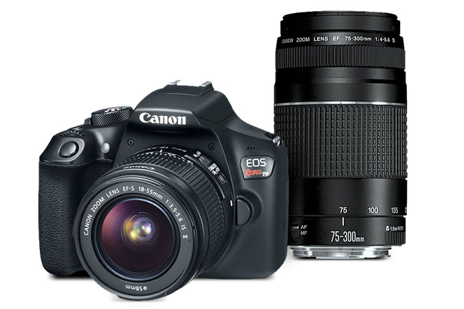 Hot Deal: Canon Rebel T6 With EF-S 18-55 And EF 75-300mm F/4-5.6 III Lenses – $279.99 Refurbished)