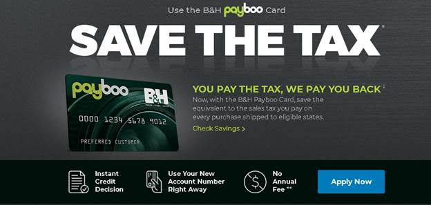 B&H Photo Introduces PayBoo Credit Card And Pays Sales Taxes For You