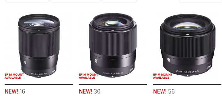 More Third Party Lenses Coming To The Canon EOS M: Sigma 16mm, 30mm, And 56mm F/1.4 DC DN Contemporary