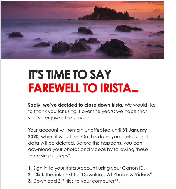 Canon Shuts Down Irista Photo Sharing And Storage Site