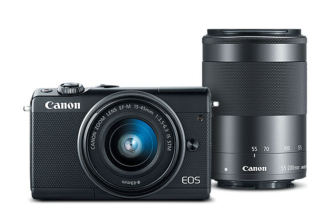 Canon EOS M100 Deal, With 15-45mm & 55-200mm Lenses, Memory Card – $399 (reg. $949)