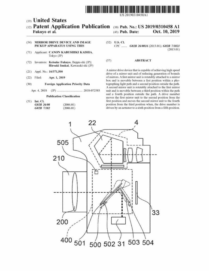 Canon Patent Application: High Speed Mirror Control