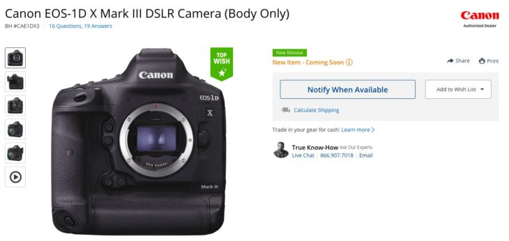 Canon EOS-1D X Mark III And First Look Video Appear On B&H Photo's Listing (no IBIS, No 6K)
